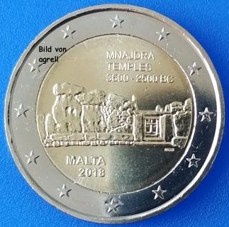 2 Euro Gedenkmünze Malta 2018 Tempel Von Mnajdra Euromuenzen Agrelleu