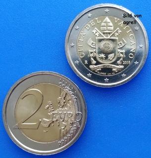 2 Euro Münze Vatikan 2018 Stempelglanz Stgl Euromuenzen Agrelleu
