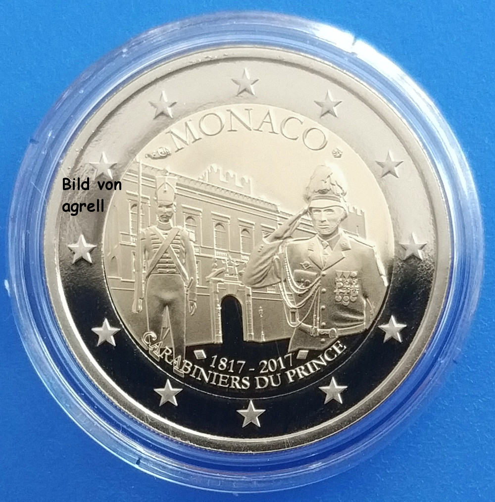 2 euro commemorative coin monaco 2017 200 years princely. Black Bedroom Furniture Sets. Home Design Ideas