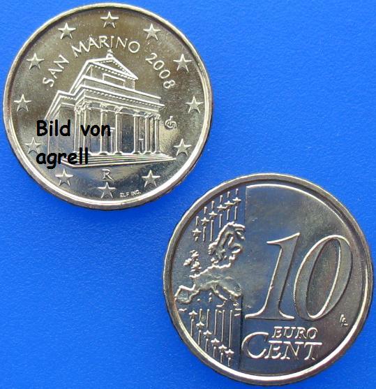 10 Cent Münze San Marino 2008 Stempelglanz Stgl Euromuenzen
